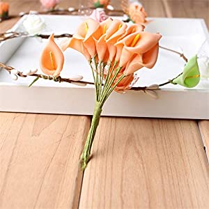 Big-Deal_72pcs/lot PE Foam Calla Lily Flower Bouquet Artificial Flower for Home Garden Craft Wreath Wedding Birthday Party Decoration - (Color:11) 15
