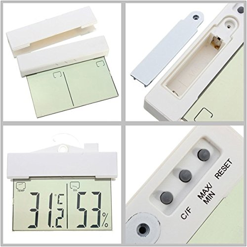 NEW!! Digital Display Window Thermometer Hydrometer Indoor Outdoor With Suction Cup