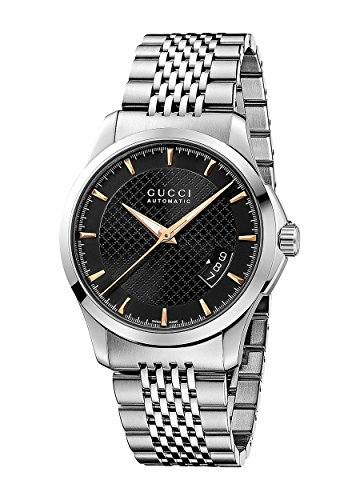 Gucci G-Timeless Black Dial Stainless Steel Automatic Men's Watch YA126420 - Gucci Stainless Steel Wrist Watch