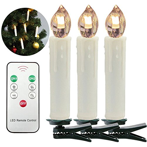 HJ® LED Weihnachtskerzen Kabellos Christbaumkerzen Baumkerzen mit Fernbedienung Warmweiß, Flammenlose, Infrarot (30X Warmweiß)
