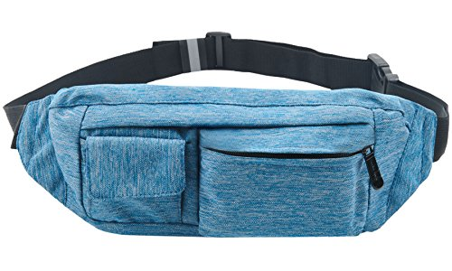 SoJourner 2-Pocket Blue Fanny Pack Hip Bag - fits men, women, kids, small, medium and -