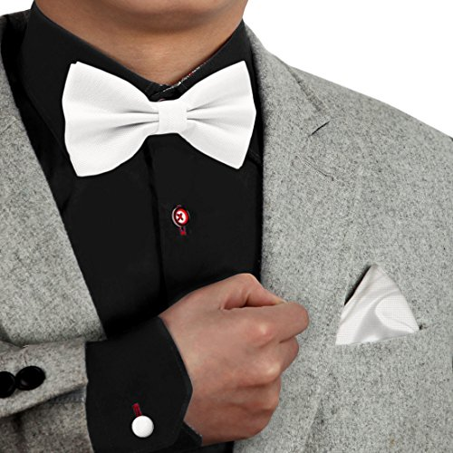 Dan Smith DBC3015 White Plaid Bowtie Set Luxury Poly Pre-Tied Bow Tie Hanky Cufflinks Set