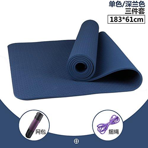 Dark bleu 8Mm( Beginner) YOOMAT Tapis de Yoga pour Hommes et Femmes Débutant à Double Face Anti-Slip Insipide épais grands TPE Sport Mats 3 Pièces Set128322