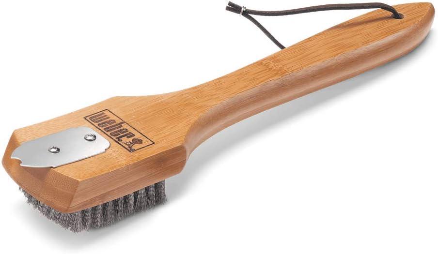 Weber 6463 Cepillo para Parrillas con Cerdas de Acero, Bambú, 30 cm