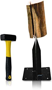"East World Wood Splitter The Axe Wedge"" Splitting Maul for Small Firewood - Easy to Use Small Log Splitter Wedge - Manual Kindling Splitter - Solid Steel Splitting Wedge – Includes 2.2Lbs Hammer"