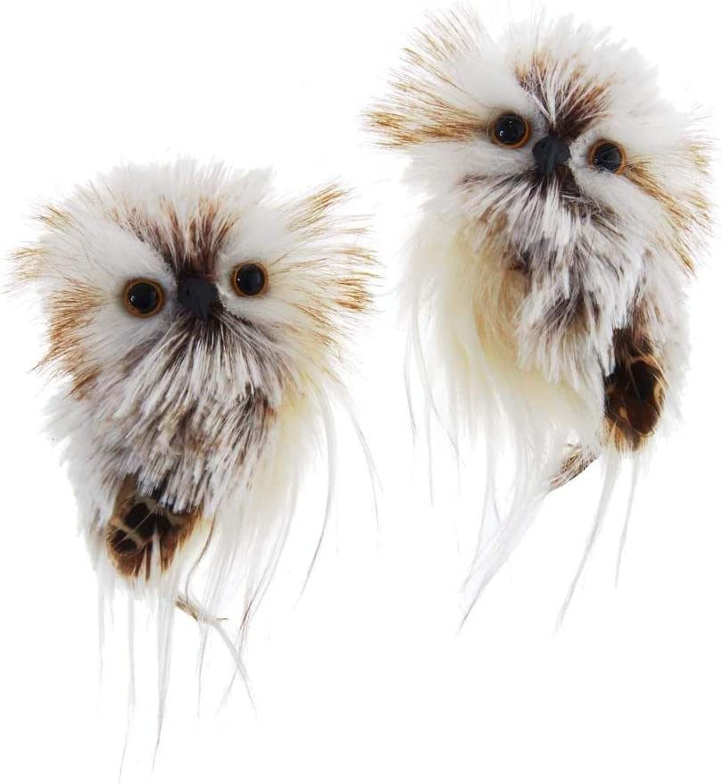 The Bridge Collection Fluffy Feathered Owl Ornaments, Set of 2