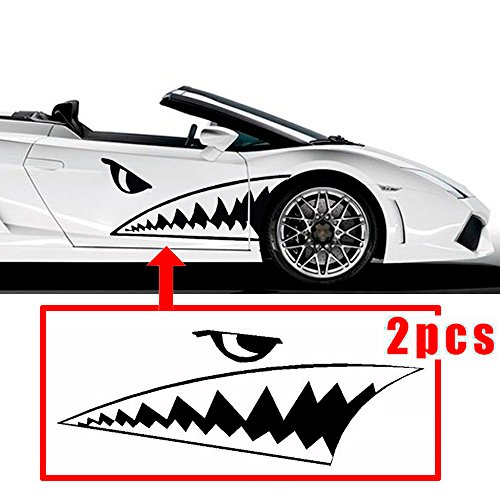 CHAMPLED 130-50 cm'' Full Size Shark Mouth Tooth Flying Tiger Die-Cut Vinyl Decal Sticker Car For BMW M BENZ AUDI VW VOLKSWAGEN VOLVO JAGUAR by Champled