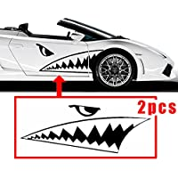 CHAMPLED 130 - 50 cm Full Size Shark Mouth Tooth Flying Tiger Die-Cut Vinyl Decal Sticker Car For FORD CHRYSLER CHEVY CHEVROLET DODGE CADILLAC JEEP GMC PONTIAC HUMMER LINCOLN BUICK