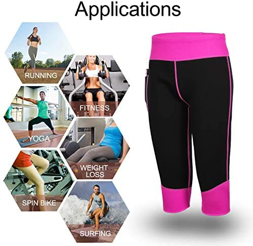 Women Weight Loss Hot Neoprene Sauna Sweat Pants with Side Pocket Workout Thighs Slimming Capris Leggings Body Shaper 8