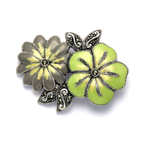 (Wild Things Sterling Silver Marcasite & Enamel Flower Corsage Pin)