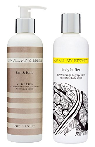 For All My Eternity Tan & Tone Firming Toning Self Tanner Lotion 8.5fl oz + Sweet Orange & Grapefruit Body Buffer - Sunless Tan with Certified Organic DHA & Luxury (Smoothing Body Buffer)
