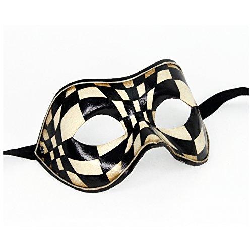 Harlequin And Pierrot Costumes (Authentic Italian Made Venetian Optical Columbina Mask (Black/White))