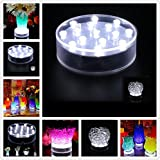 TOPPER SHOW USB Chargeable LED Vase Base Light - 4 inch Acrylic Round Super Bright 15 LED Beads LED Base Light Battery Powered Pedestal Base Plate Light For Wedding Halloween Party Decoration