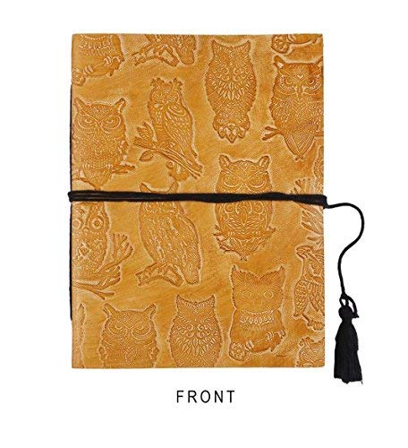 storeindya Leather Bound Journal Writing Notebook - Handmade Unline Pages 8 x 6 Inches Daily Notepad Diary (Embossed Gold Owl) for Men Women Art Sketchbook Notebooks to Write in (Journal Of Marital And Family Therapy Infidelity)