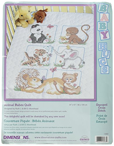 Baby Animals Quilt Stamped Cross - Dimensions Needlecrafts Stamped Cross Stitch, Animal Babes Quilt