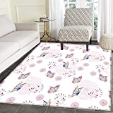 Butterfly Rugs for Bedroom Butterflies and Branches Romantic Spring Retro Faith Optimism Change Fly Theme Circle Rugs for Living Room 4'x5' Pink White