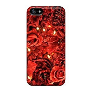 For Iphone 5/5s Tpu Phone Case Cover(red Roses Lights Wallpaper)