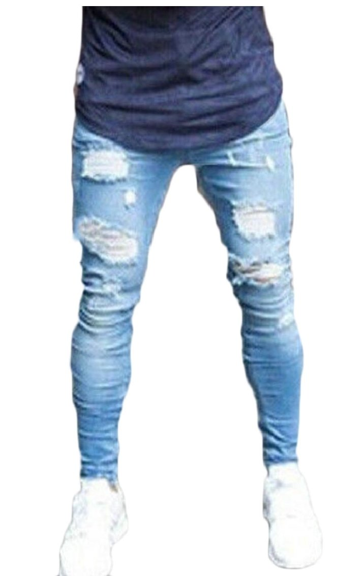 Gocgt Men's Slim Fit Distressed Holes Denim Pants Trousers Ripped Destroyed Blue Jeans 1 L