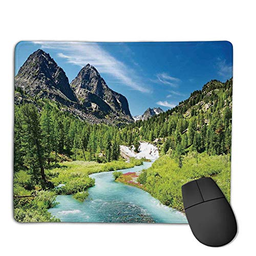 (Premium-Textured Mouse Mat,Non-Slip Rubber Mousepad Waterproof,Altai Pine Forest,Rainforest River Rocky Mountains Snenery Siberia Whitewater Decorative,Applies to Games,Home, School,Office Mouse pad)