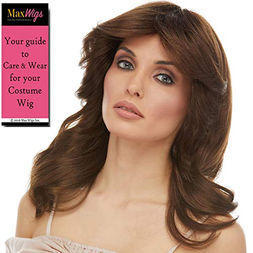 Charlie's Angels 70s Wig Color Brown - Sepia Wigs Jaclyn Long Wavy Mid Back Length 70s Woman Ladies Decetives Bundle MaxWigs Costume Care -