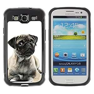 Suave TPU GEL Carcasa Funda Silicona Blando Estuche Caso de protección (para) Samsung Galaxy S3 III I9300 / CECELL Phone case / / Pug Black White Puppy Cute Button Ear /
