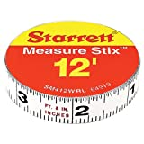"Starrett Measure Stix SM412WRL Steel White Measure Tape with Adhesive Backing, English Graduation Style, Right To Left Reading, 12' Length, 0.5"" Width, 0.0625"" Graduation Interval"