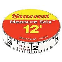 """Starrett Measure Stix SM412WRL Cinta de medir blanca de acero con respaldo adhesivo, estilo de graduación en inglés, lectura de derecha a izquierda, 12 'de largo, 0.5 """"ancho, 0.0625"""" Intervalo de graduación"""