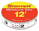 starrett tools - Starrett Measure Stix SM412WRL Steel White Measure Tape with Adhesive Backing, English Graduation Style, Right To Left Reading, 12' Length, 0.5
