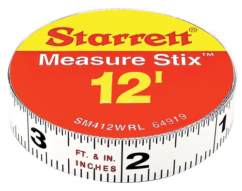 Starrett Measure Stix SM412WRL Steel White Measure Tape with Adhesive Backing, English Graduation Style, Right To Left Reading, 12' Length, 0.5