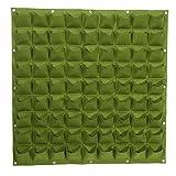 Zerodis Vertical Garden Planter Pouch, 81-Pocket Felt Fabric Grow Bags Wall Mount Flower Pots Balcony Garden (Green)