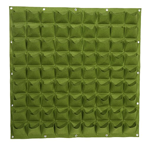 Zerodis Vertical Garden Planter Pouch, 81-Pocket Felt Fabric Grow Bags Wall Mount Flower Pots Balcony Garden (Green) by Zerodis