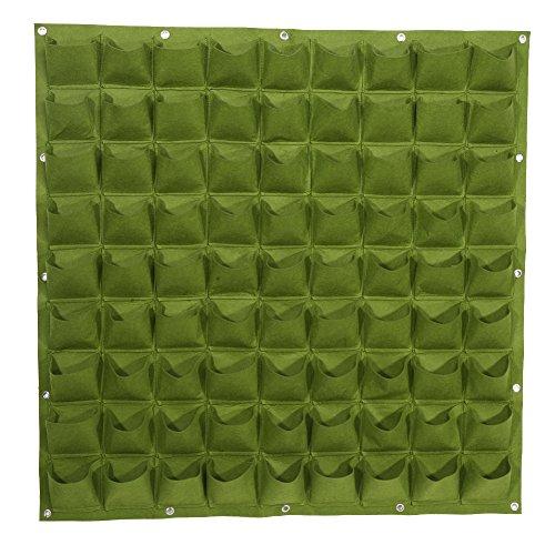 (Zerodis Vertical Garden Planter Pouch, 81-Pocket Felt Fabric Grow Bags Wall Mount Flower Pots Balcony Garden (Green))