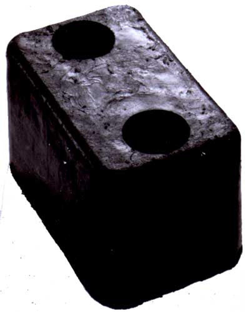 Durable Corporation Rubber Molded Trailer Bumper, Rectangular, 2 Holes, 5-3/4'' Length, 3-5/8'' Width, 3-1/2'' Depth
