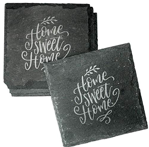 Housewarming Gift Etched Slate Coasters Set of 4 - Home Sweet Home Absorbent Drink Coasters - ()