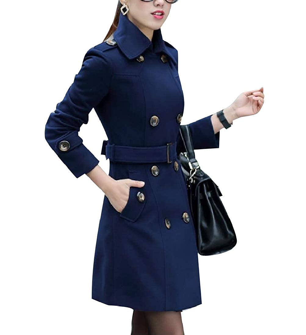 Vska Womens Wool Blended Double Button Classy Fall Winter Worsted Coat