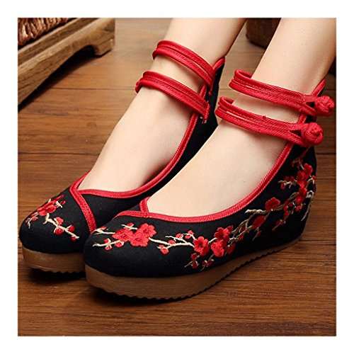 within Beijing black Plum Cloth Blossom Shoes 40 Increased Old SBnHYwOqw