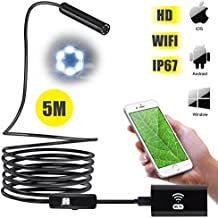 ROKOO Wireless Endoscope, Wifi Borescope 2.0 Megapixels 720P HD Inspection Camera 6 Adjustable LED Lights Semi-rigid Snake Camera for IOS, Android Smartphones, Samsung, Tablet, PC (5 Meters)