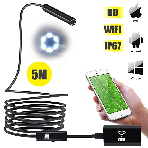 ROKOO Wireless Endoscope, WiFi Borescope 2.0MP 720P HD Inspection Camera Adjustable LED Lights Semi-Rigid Snake Camera for iOS, Android Phones, Samsung, Tablet, Laptop (5 Meters) ()