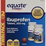 Equate Ibuprofen Pain Reliever Fever Reducer 200 mg Coated Tablets, Two 100 Count Bottles (200 Total)