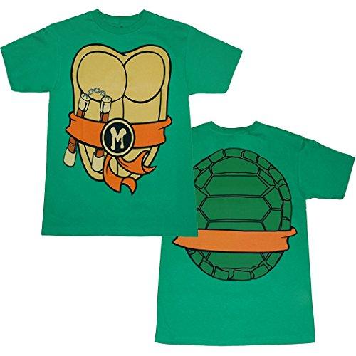 Teenage Mutant Ninja Turtles Michelangelo Costume T-Shirt-Medium (Adult Ninja Costume Tshirt)