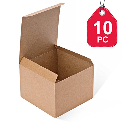 MESHA Kraft Boxes 10 Pack 5x 5 x 3.5 Inches, Brown Cardboard Gift Boxes with Lids for Gifts, Crafting, Cupcake (Brown Cake Favor Boxes)