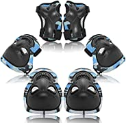 Kids/Adult Protective Gear Set, Knee Elbow Pads Wrist Guards Protector 6 in 1 for Skateboard, Bike, Rollerblad