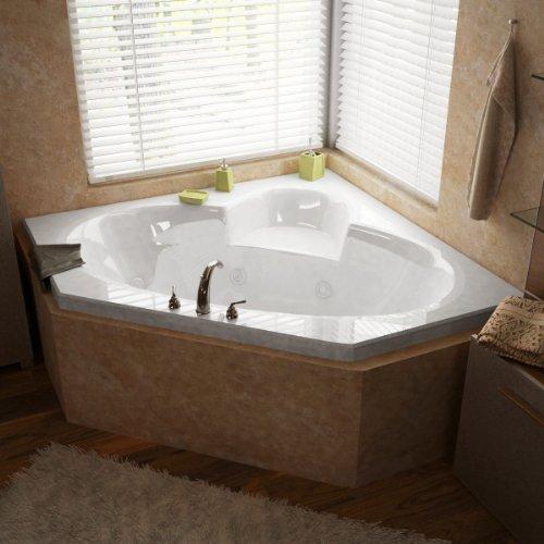 Atlantis Whirlpools 6060swr Sublime Corner Whirlpool Bathtub, 60 X 60, Center Drain, White ()