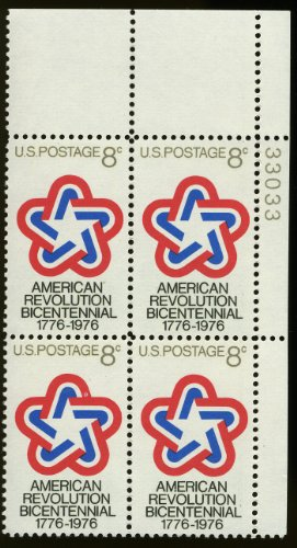 1971 US 8¢ Scott #1432 American Revolution Bicentennial Numbered Plate Block of 4