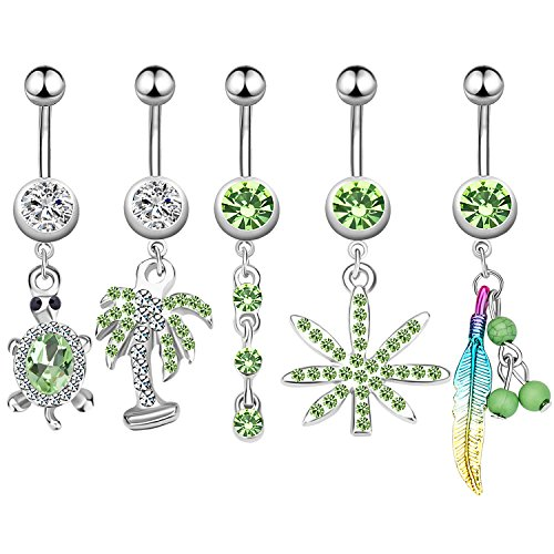 Animal Green Ring - 5Pcs Dangle Belly Button Rings Set Navel Surgical Stainless Steel 14G Body Piercing Jewelry (Green)