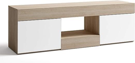 Miroytengo Mesa TV Estilo Moderno Color Blanco y Sable Mueble ...