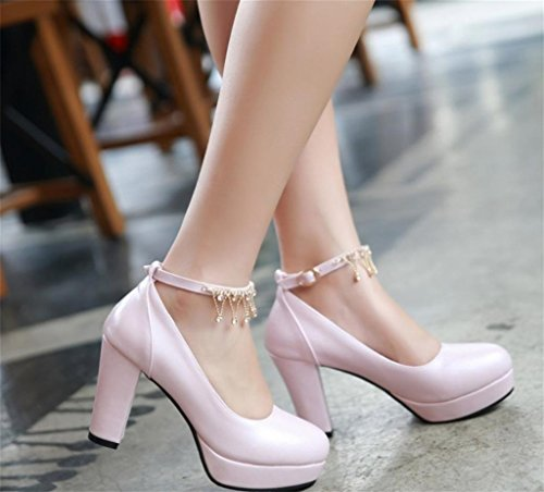 Pointed Stiletto Closed Shiny For Toe Pink Heels Straps Party High Good Dress Wedding MNII Pumps Women's Quality Metal qAXpOOw