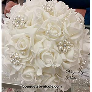 Made to order Brooch Bouquet Wedding Bridal Flowers Real Touch Roses Bride Bridesmaids JAMIE 60
