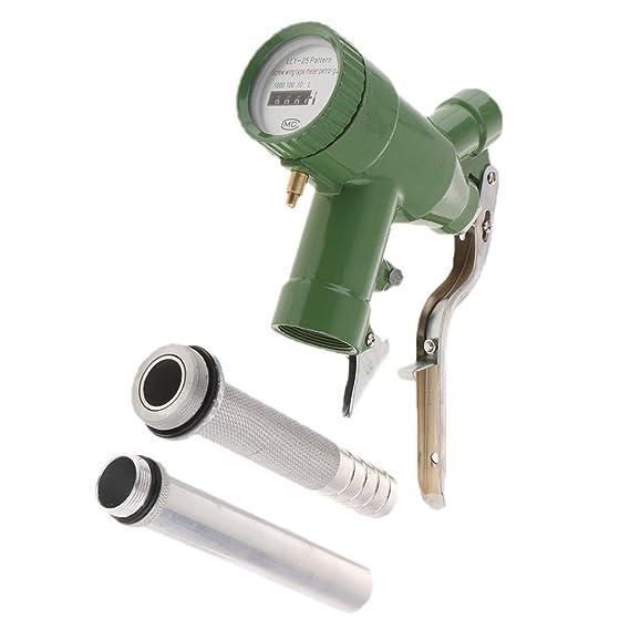 Sharplace LLY-25 Manual Dispensador de Gasolina con Boquilla de Suministro de Diesel Máquina de Engrasador con Ajustable Tamaño + Indicador de Flujo ...