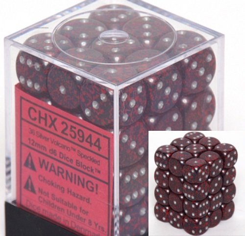 Chessex D6 Speckled - Chessex Dice d6 Sets: Silver Volcano Speckled - 12mm Six Sided Die (36) Block of Dice